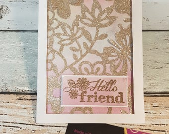 Hello friend flowers and butterflies card