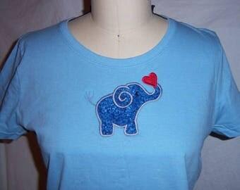 Elephant Applique light blue t shirt