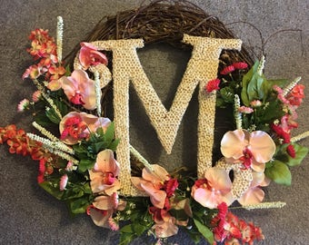 Custom Floral Door Wreaths Monogramed