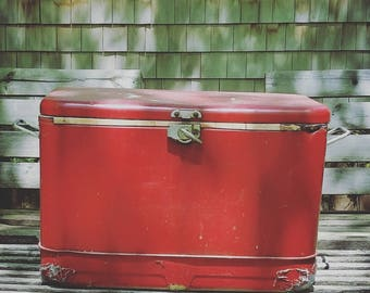 Vintage Red metal cooler/ice chest