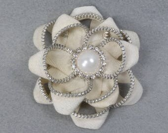 White Flower Brooch - Zipper Pin - Upcycled, Recycled, Repurposed