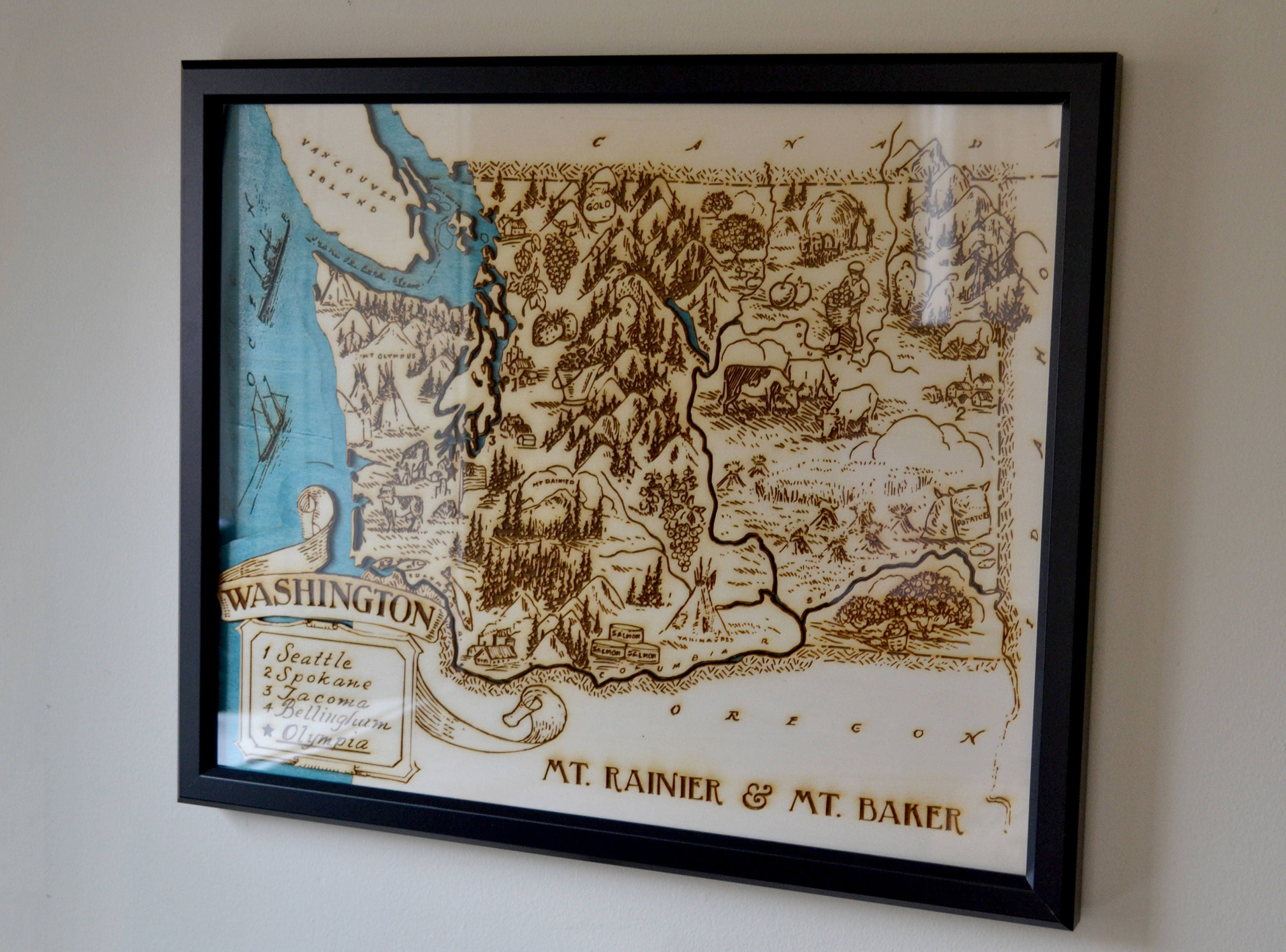 Personalised Map Wedding Gifts Washington Topographic Wood Map