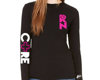 RN care long sleeve women tee