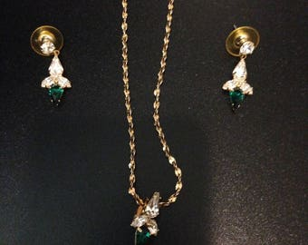 Vintage gold tone necklace and earring set with clear and green gems