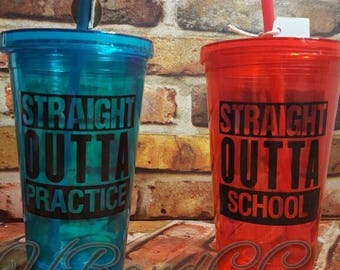 Double Wall Tumblers, Decal Tumblers with Straw, Decal Kids Cup, Kids Tumbler, Tumbler with Straw, Plastic Decal Tumbler, Straight Outta