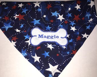 Dog Bandana, July 4 th Red, White, Blue Stars, Personalized Dog Bandana, Dog Gift, Dog Lovers Gift, Dog Bone, Summer bandana
