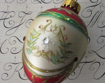 Vintage Christmas Ornament Jeweled Egg Hand Blown Glass  #A25