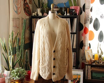 mens 1960s vintage Irish wool cardigan, cable knit fisherman sweater, xxl hand knit 100% wool by An Irish Craft, made in Republic of Ireland