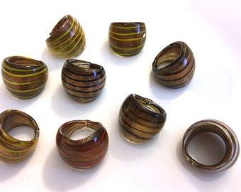 Lot of 9 Glass Swirl Rings