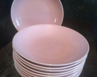 Pasta Plates Pink Taylor Smith & Taylor Pebbleford China TEN 10 Shallow Soup Bowls 1950s Classic