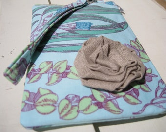 Wedding Clutch 2 pockets,medium,blue purple,cotton,discount plan set, wristlet-- Eucalyptus in jade