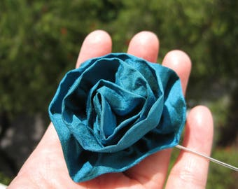 SILK flower lapel pin, teal silk lapel flower, wedding lapel pin, rose boutonniere, mens boutonniere, stick pin, teal silk