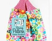 Grocery Bag PDF Sewing Pattern | Bag Pattern PDF to Make a Reuseable Market Tote Grocery Shopping Bag