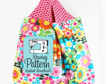 Grocery Bag PDF Sewing Pattern | Sew a machine washable farmers market grocery shopping tote bag with this simple sewing pattern.