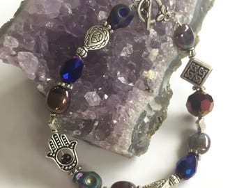 Deep Purple Collage Bracelet