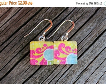 CYBER SALE REDUCED Pink and Yellow Patterned Print Glass Tile Earrings