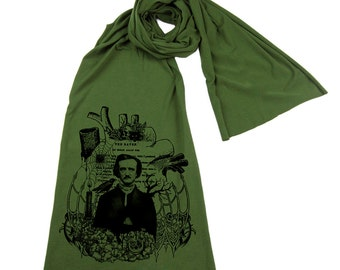 Edgar Allan Poe Screen printed Cotton Scarf