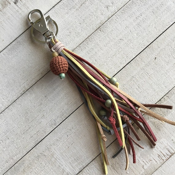 Unique Tassel Purse Charm and Key Chain - One of a Kind Faux Suede Tassel with Wooden Beads and Crocheted Bead -Hippie Bohemian Chic (OOAK3)