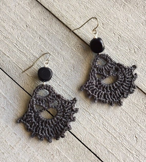 Boho Earrings Crocheted Dangle Statement Earrings Hippie Gypsy Boho Jewelry Gift for Her  Modern Bohemian Dark Gray