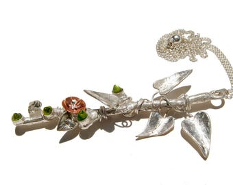 Blooming Vine, Vine Necklace, Fine Silver, Sterling Leaves, Peridot Buds, Copper Flower