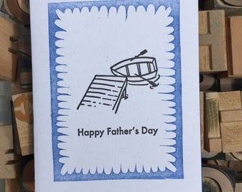 Letterpress Father's Day rowboat card