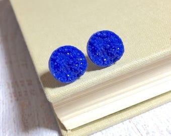 Blue Druzy Studs, Sparkling Blue Studs, Blue Stud Earring, Blue Drusy Stud, Druzy Jewelry, Surgical Steel Stud, KreatedByKelly (SE8)