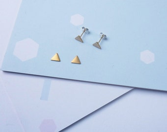 Tiny Triangle Studs- Sterling Silver and Brass Triangle Earrings Geometric