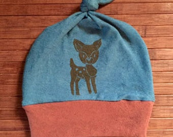 Organic Baby Hat - Organic cotton and hemp baby hat with Deer print