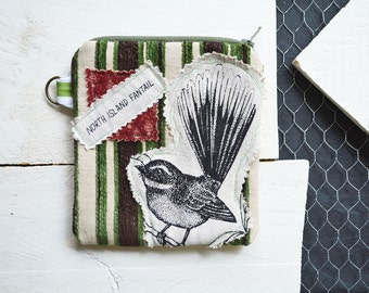 North Island Fantail bird Small Zipper Bag. Zipper Pouch. Key Chain. Credit Card Change Wallet Holder. One of a kind Gift.
