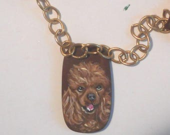 Apricot poodle Dog hand Painted Pendant Beaded Necklace Jewelry