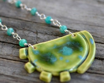 cog necklace v1 - amazonite and sterling silver with ceramic pendant