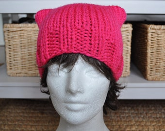 Neon Pink Pussy Hat Project - Knit Pussyhat - Kitty Hat - Neon Pink Hat - Ready to Ship - Mother's Day gift