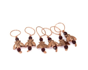 Copper Bee Knitting Stitch Markers Set of Six