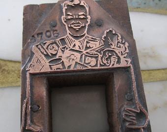 Antique Letterpress Printers Block Man with Groceries Frame