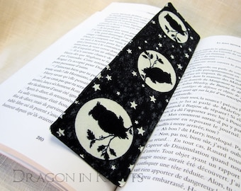 Glow in the Dark Owl Bookmark - moon, stars, Halloween fabric place holder - black, grey, white, spooky nighttime theme, birds of the night