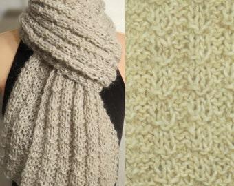 Hand Made Knit Scarf Wool Mohair Alpaca Cream