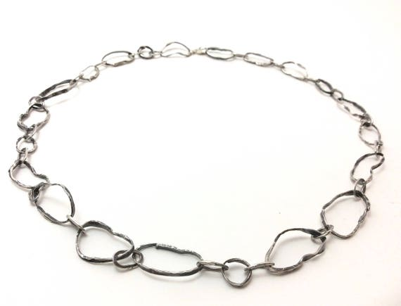 Hand hammered rustic-look sterling silver necklace chain