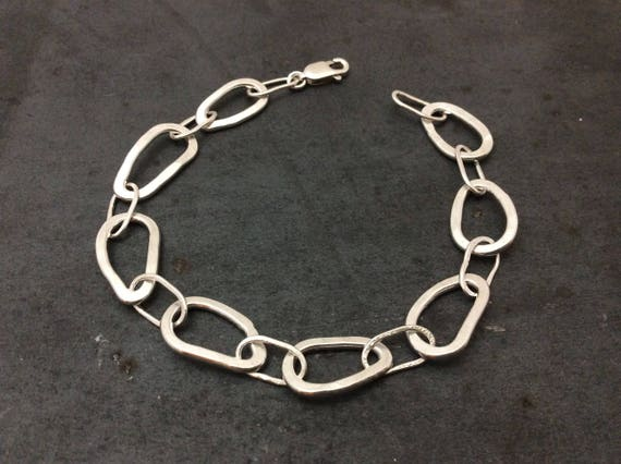 Handcrafted 7 inch hammered tarnish-free sterling silver bracelet, charm bracelet, made in Michigan