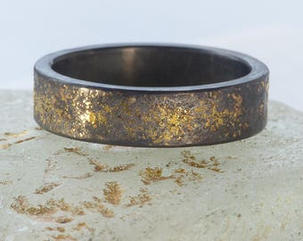 Chunky Stardust Ring   Sterling Silver and 18ct Gold   Handmade in the UK