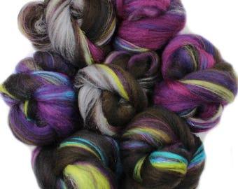 Witching Hour battlings -- mini batts (2 oz.) organic polwarth wool, bamboo, sparkle.