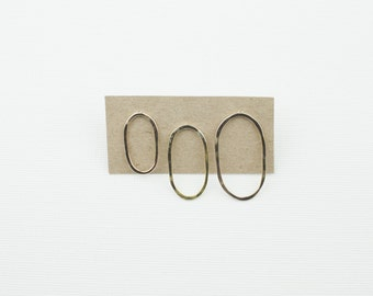 Oval Open Shape Studs - Oval Studs - Handmade with Recycled Metals