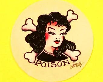Poison Old School Tattoo Rockabilly Traditional Flash Pinup Girl and Crossbones Sailor Jerry Vinyl Sticker