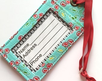 Luggage Tag - Aqua and Red - Bag Tag - id badge holder - luggage identifier - Bag Label - Travel Accessory - Suitcase label - Travel Tag