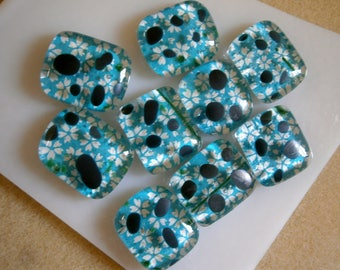 9 Fused Glass Magnets Clearance Lot, Magnets for Home or Office, Willow Glass