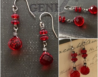 Heartbeat. Sterling Silver and Red Glass artisan drop earrings by Anne More.