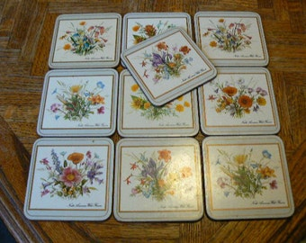 "Vintage Pimpernel Coasters ""North American WIld Flowers"" Set 60's (Set of 10)"