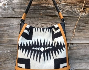 Leather & Pendleton Wool Tote Bag