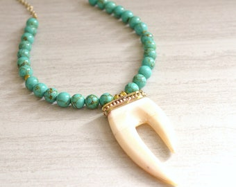 The Manteo- Oxbone Pendant with Green Turquoise Howlite Chain Necklace