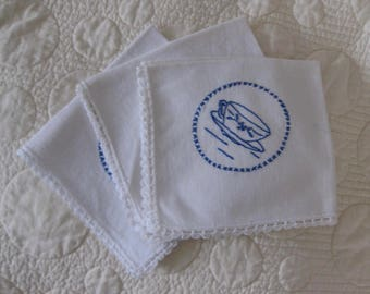 Vintage Napkins, White with Blue Tea Cups, Set of Three, Embroidery, Crochet Edging