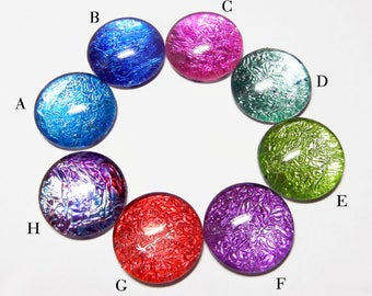 Glimmer Glass Cabochons for Pendant and Jewelry Pick your size 10mm 12mm 14mm 16mm 20mm 25mm